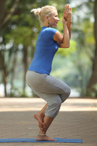 Garudasana posizione yoga aquila