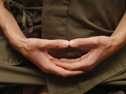 mani in posizione zazen